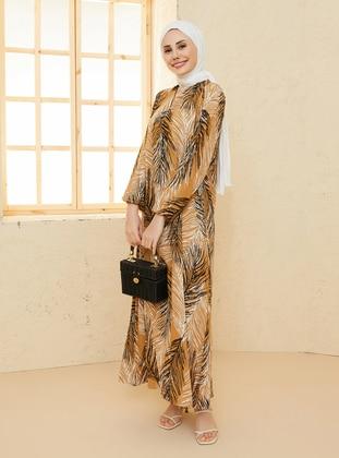 Tan - Floral - Crew neck - Unlined - Modest Dress