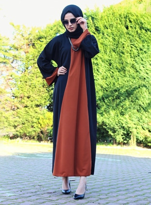 Brown - Black - Unlined - Crew neck - Abaya - DUHA BY MELEK AYDIN