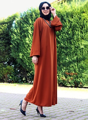 Brown - Unlined - Crew neck - Abaya - DUHA BY MELEK AYDIN