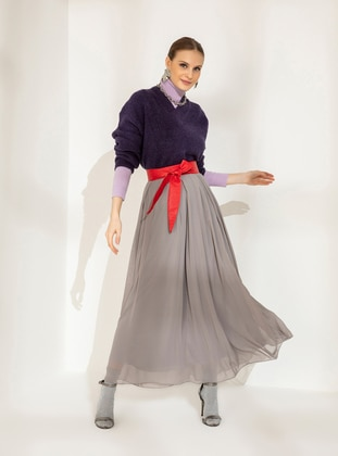 Gray - Fully Lined - Skirt