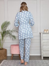 Blue - Crew neck - Floral - Pyjama Set