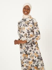 Black - Floral - Crew neck - Unlined - Modest Dress