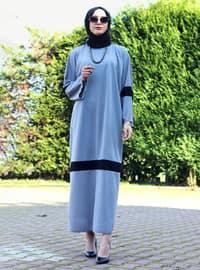 Gray - Black - Unlined - Crew neck - Abaya - DUHA BY MELEK AYDIN