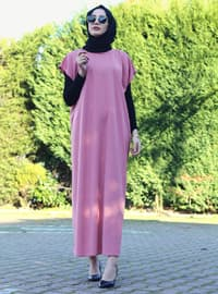 Powder - Unlined - Crew neck - Abaya - DUHA BY MELEK AYDIN