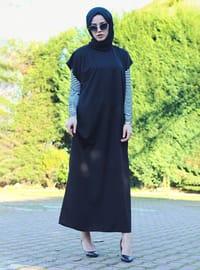 Black - Unlined - Crew neck - Abaya - DUHA BY MELEK AYDIN