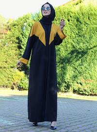 Mustard - Black - Unlined - Crew neck - Abaya - DUHA BY MELEK AYDIN