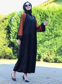 Brown - Black - Unlined - Crew neck - Abaya - DUHA BY MELEK AYDIN