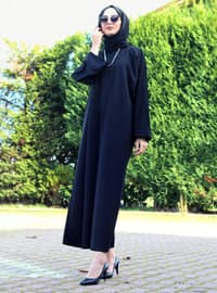 Black - Unlined - Crew neck - Abaya - DUHA BY MELEK AYDIN
