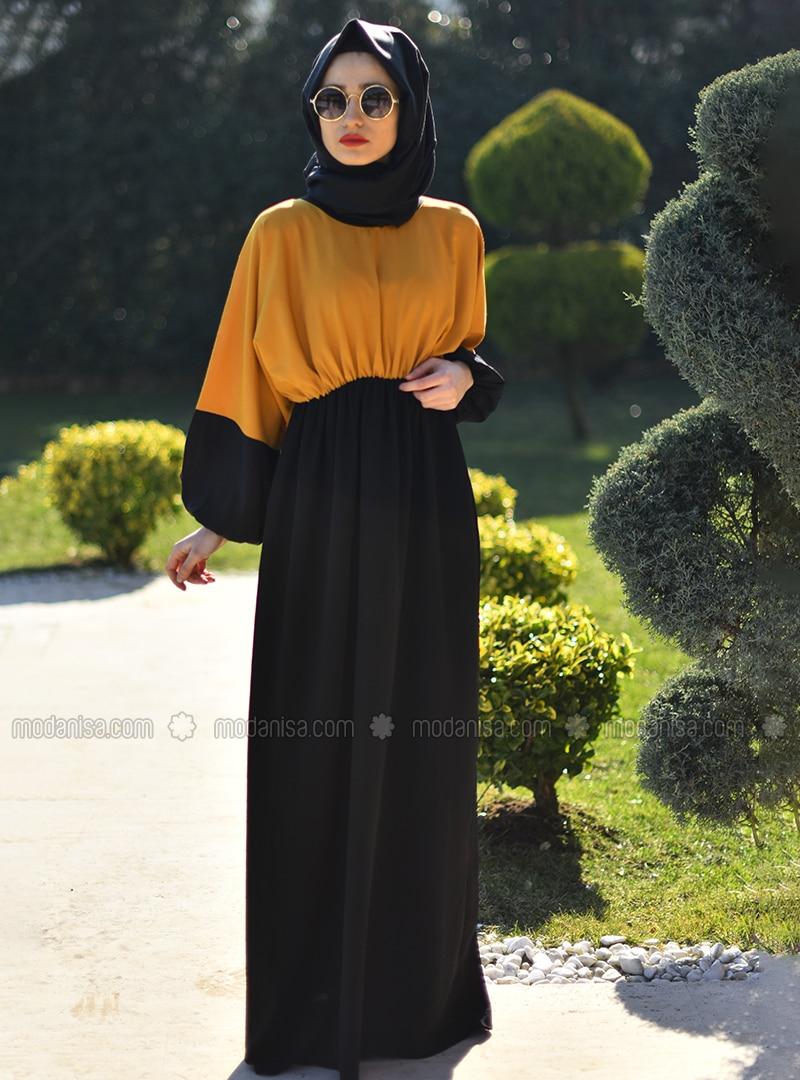 Yellow - Black - Crew neck - Unlined - Yellow - Black - Crew neck - Unlined - Modest Dress