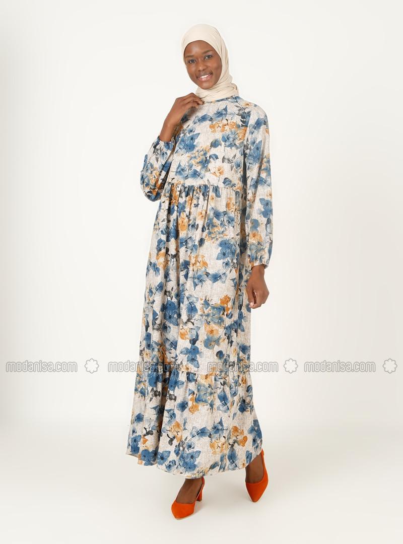 Indigo - Floral - Crew neck - Unlined - Modest Dress