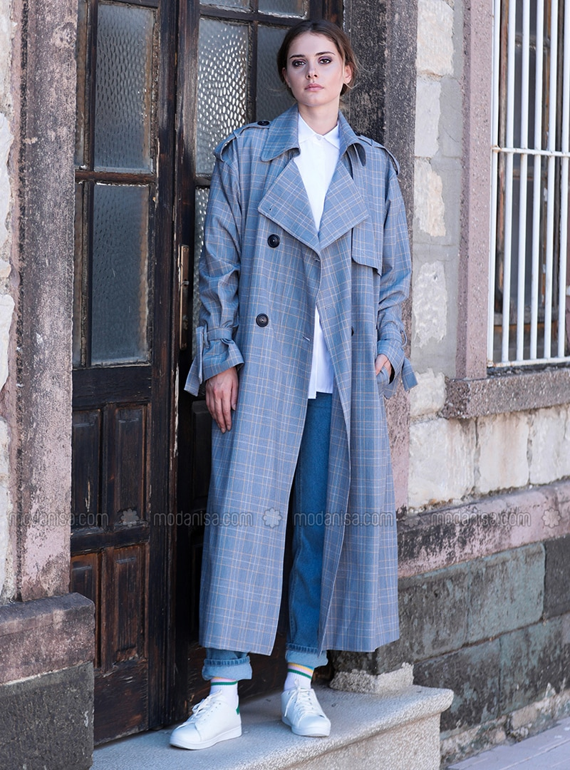 Blue - Plaid - Fully Lined - Trench Coat