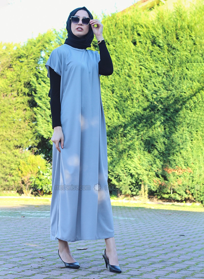 Gray - Unlined - Crew neck - Abaya - DUHA BY MELEK AYDIN
