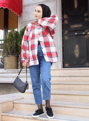 White - Red - Plaid - Point Collar - Tunic