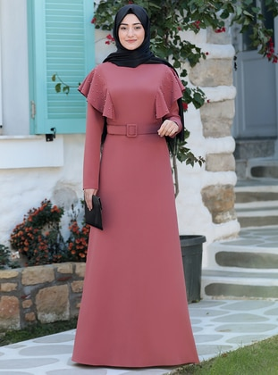 Dusty Rose - Unlined - Crew neck - Modest Evening Dress