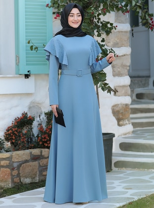 Blue - Unlined - Crew neck - Modest Evening Dress