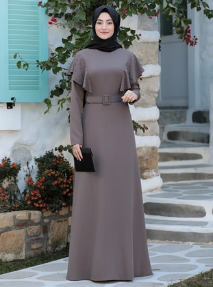 Mink - Unlined - Crew neck - Modest Evening Dress