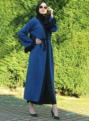 Blue - Black - Unlined - V neck Collar - Abaya