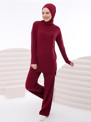 Maroon - Unlined - Knit Suits