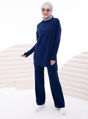 Navy Blue - Navy Blue - Unlined - Navy Blue - Unlined - Knit Suits