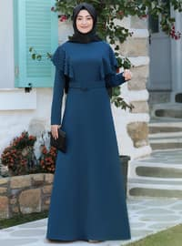 Petrol - Unlined - Crew neck - Modest Evening Dress