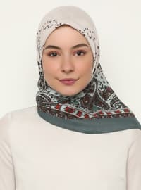 Ecru - Petrol - Shawl Patterned - Scarf