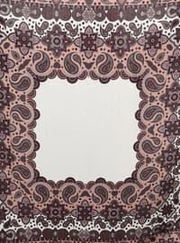 Ecru - Plum - Shawl Patterned - Scarf