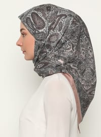 Brown - Floral - Shawl Patterned - Scarf