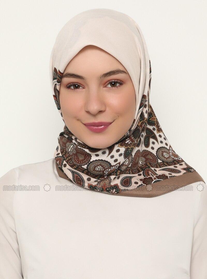 Ecru - Brown - Shawl Patterned - Scarf