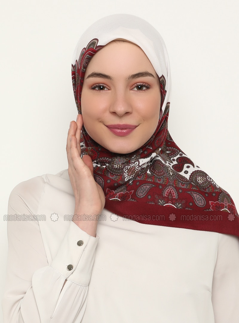 Maroon - Ecru - Shawl Patterned - Scarf