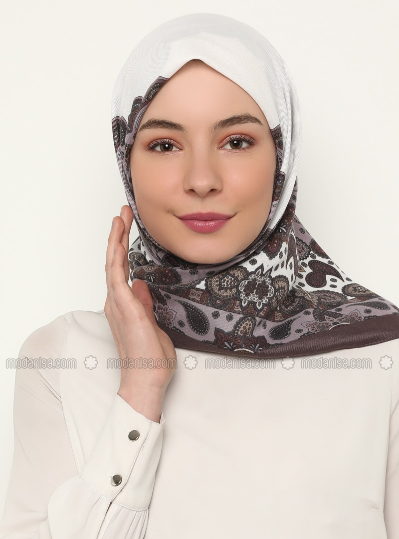 Ecru - Shawl Patterned - Scarf