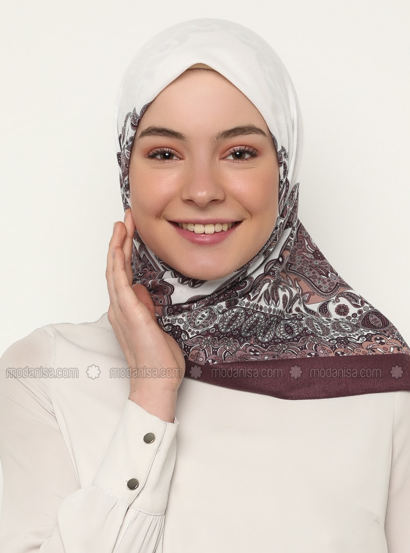 Ecru - Plum - Shawl Patterned - Scarf