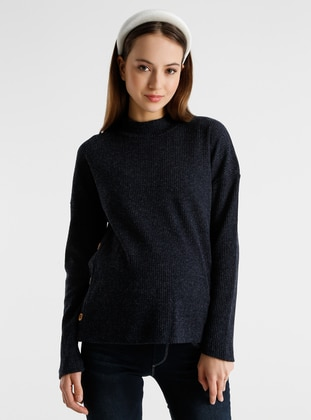 Navy Blue - Polo neck - Maternity Blouses Shirts
