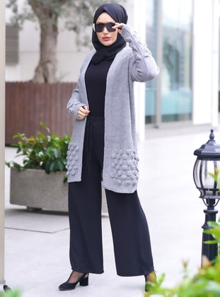 Gray - Unlined - Knit Cardigans