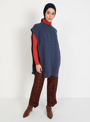 Indigo - Blue - Unlined - Crew neck - Knit Sweaters