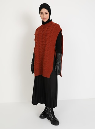 Terra Cotta - Unlined - Crew neck - Knit Sweaters