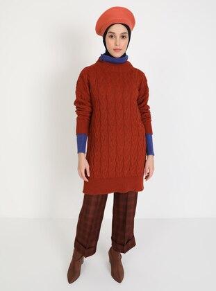 Terra Cotta - Crew neck - Unlined - Knit Tunics