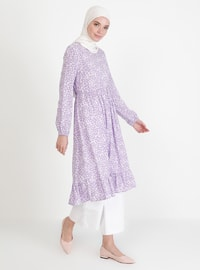 Lilac - Floral - Crew neck - Tunic