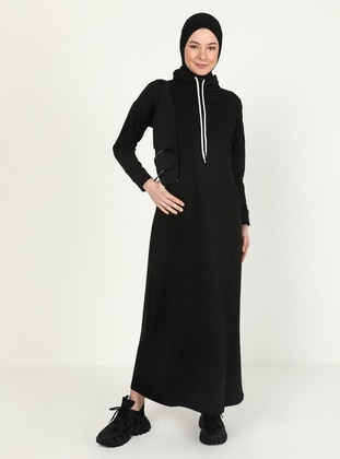 Black - Crew neck - Unlined - Modest Dress