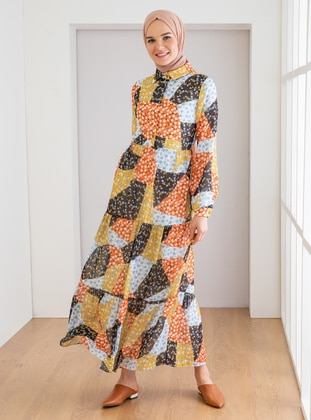 Yellow - Floral - Point Collar - Unlined - Modest Dress