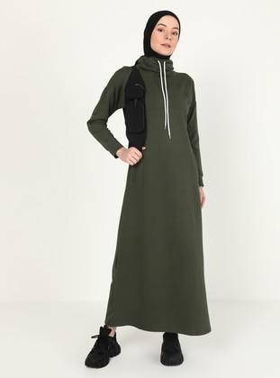 Khaki - Crew neck - Unlined - Modest Dress
