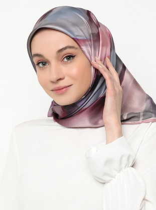 Lilac - Powder - Printed - Scarf