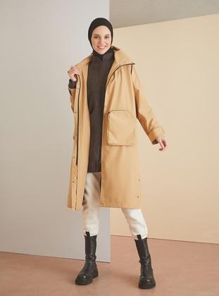 Beige - Fully Lined - Topcoat - LOREEN