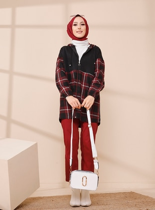 Maroon - Houndstooth - Point Collar - Tunic