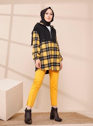 Mustard - Black - Houndstooth - Point Collar - Tunic