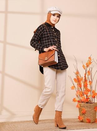 Tan - Checkered - Point Collar - Tunic
