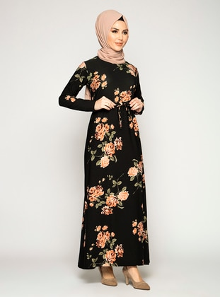Black - Salmon - Floral - Crew neck - Unlined - Modest Dress