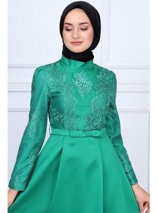 Fully Lined - Green - Muslim Evening Dress