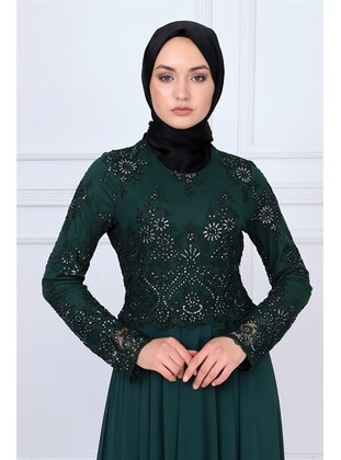 Fully Lined - Emerald - Muslim Evening Dress