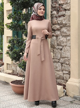 Camel - Crew neck - Unlined - Modest Dress