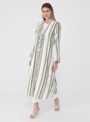 Sea-green - Stripe - Unlined - V neck Collar - Plus Size Coat